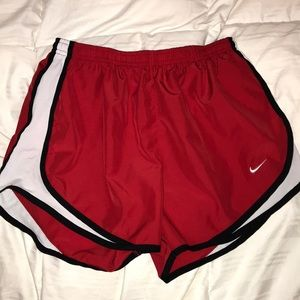 Red dri-fit Nike athletic shorts